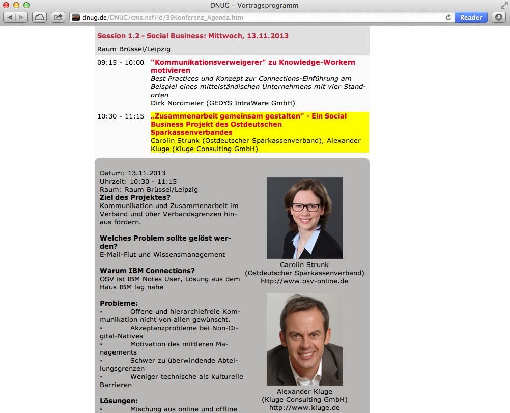 Vortrag Social Business auf der DNUG, Referenzstory Ostdeutscher Sparkassenverband