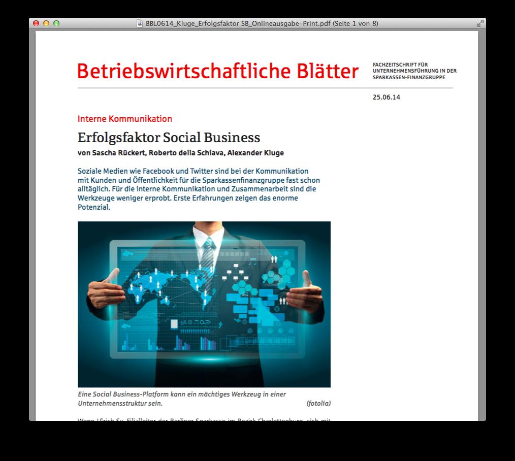 Betriebswirtschaftliche Blätter Social Business Kluge