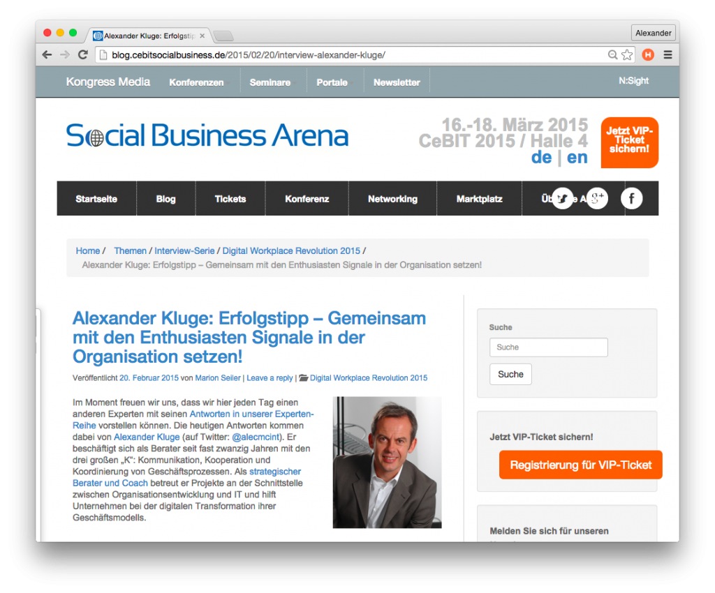 CeBIT Social Business Interview