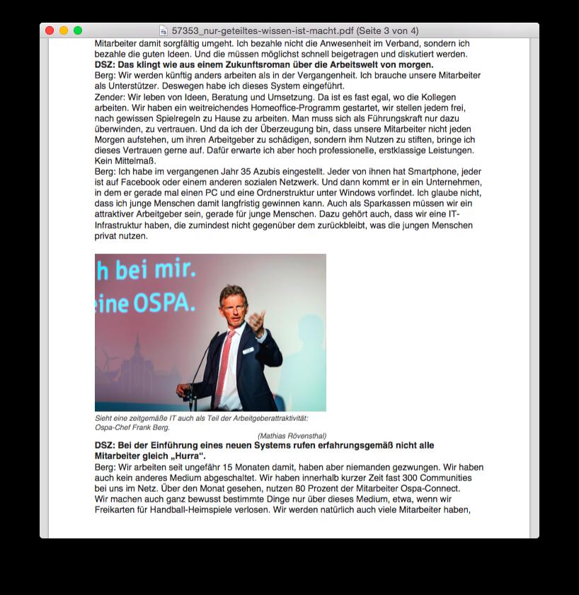 Sparkassenzeitung Geteiltes Wissen Zender Berg
